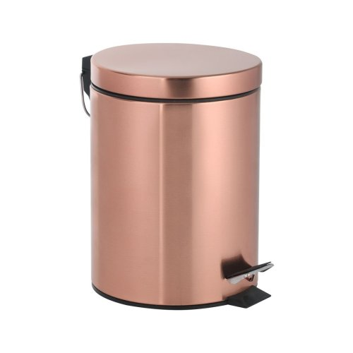 mDesign Metal Wastepaper Bin /— Compact Rectangular Bathroom Bin /— Rubbish Basket for Home and Office /— Bronze