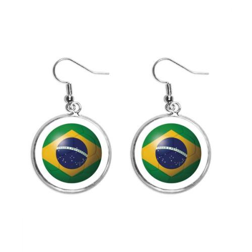 Brazil National Flag Soccer Football Ear Dangle Silver Drop Earring Jewelry Woman