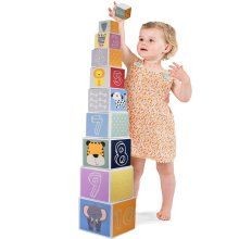 The Magic Toy Shop Baby Large Nesting & Stacking Blocks Cubes Set Numbers, Animals, Shapes & Colors