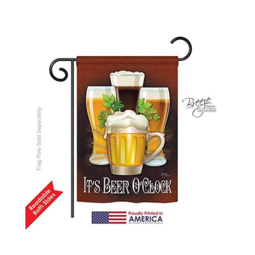 Breeze Decor 67028 Its Beer O Clock 2-Sided Impression Garden Flag - 13 x 18.5 in.