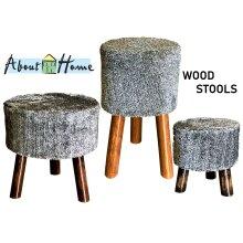 Faux Fur Wooden Stools