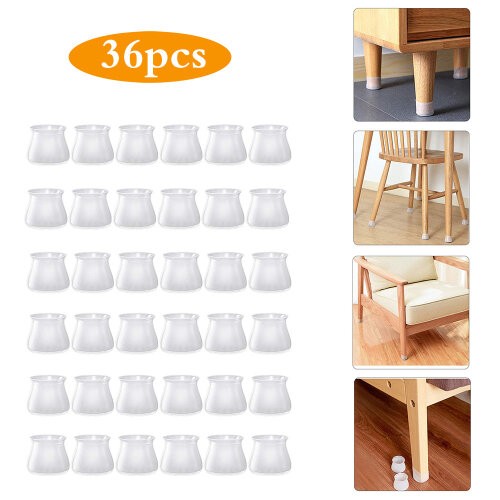 (White) 36pcs Silicone Chair Legs Floor Protectors Cap