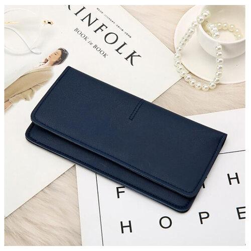 Soft PU Leather Bifold Multi Card Holder Wallet, Elegant Clutch Long Purse for Women Ladies-Blue