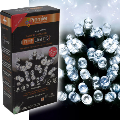 600 LED 60m Premier Battery 8 Function Outdoor Smart Timer Lights Cool White