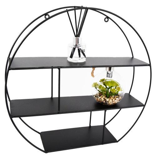 (Round) Metal Floating Wall Shelves Hanging Decorative Shelf Office Storage Display Rack