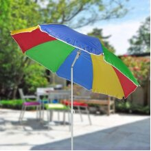 Unibos Tilting Rainbow UPF 40 Beach Parasol 1.6m UV Protection Umbrell