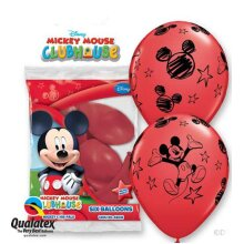 Mickey Mouse Red Latex Balloons 6pk