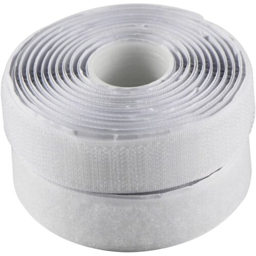 EDGEAM Self-Adhesive Hook and Loop Tape 20 mm Wide , white, 5 Meters