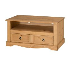 Corona TV Unit Flat Screen Wide Stand 2 Drawer Solid Pine Furniture