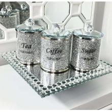 CRUSHED DIAMOND SILVER CRYSTAL TEA COFFEE SUGAR SET, EXTRA SPARKLY
