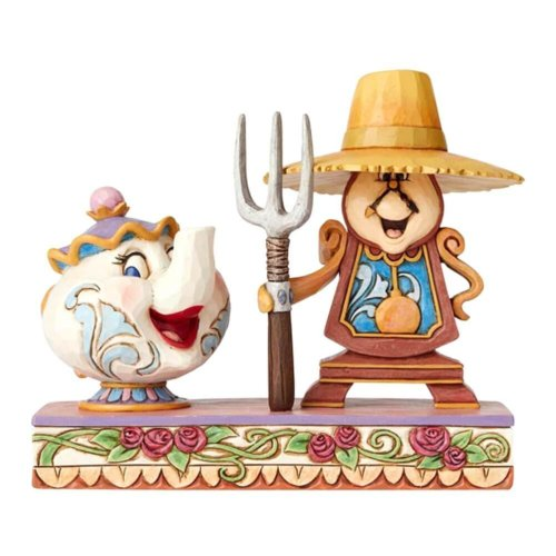 Disney Traditions Mrs Potts and Cogsworth 'Workin' Round the Clock' Figurine