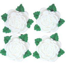 4 Edible Roses Wedding Anniversary Birthday Cake Toppers