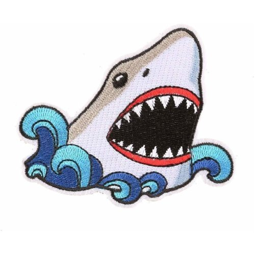 White Shark Embroidered Iron On Patch