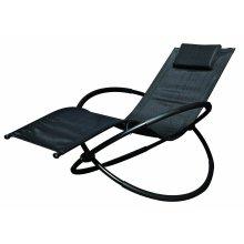 Black Rocking Lounger Indoor Outdoor Moon Rocker Garden Chair With Pillow