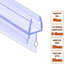 ECOSPA Bath Shower Screen Door Seal Strip 6-8mm Glass Gaps up to 27mm