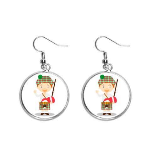 Red Green Scotland Cartoon Ear Dangle Silver Drop Earring Jewelry Woman