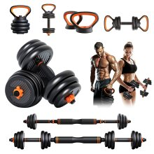 YOLEO Adjustable Dumbbells Set, 6 in 1 Barbell/Kettlebell Free Weights Set for Home Gym