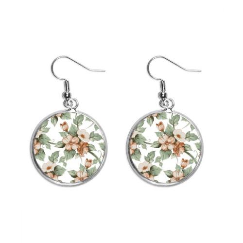 Elegant Rattan Flowers Decorative Ear Dangle Silver Drop Earring Jewelry Woman