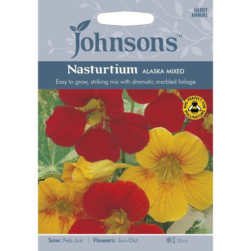 Johnsons Seeds - Pictorial Pack - Flower - Nasturtium Alaska Mixed - 25 Seeds