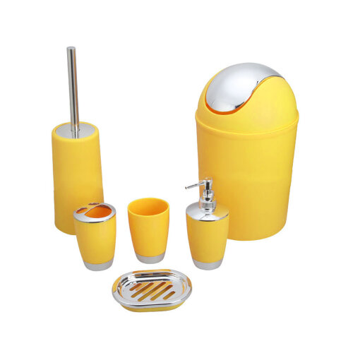 (Yellow) Professional 6pc Bathroom Accessories Set Bin Soap Dispenser Toothbrush Tumbler
