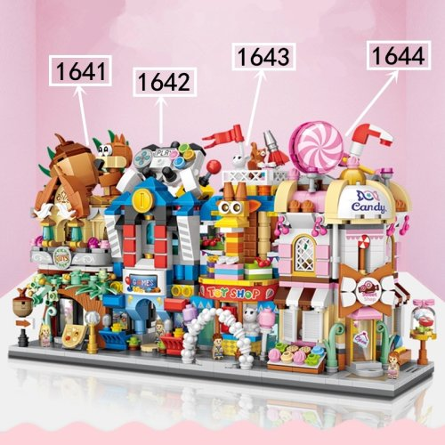 (E of 4 (1641-1644)) Nice City Model Building Blocks Children's Educational Toys Room Decoration Gifts for Kids