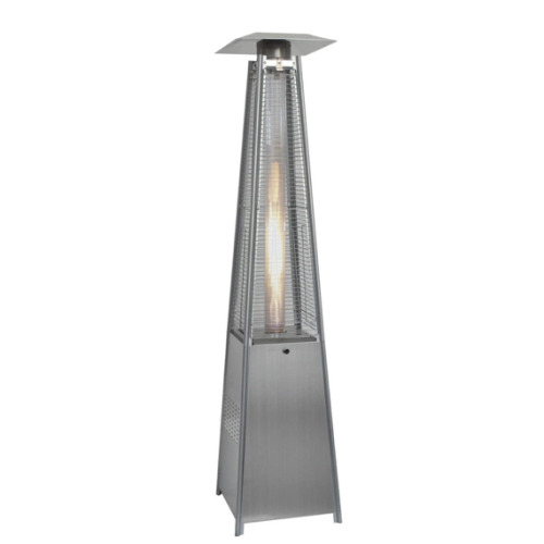 13KW Glass Tube Real Flame Gas Pyramid Patio Heater Steel FREE COVER