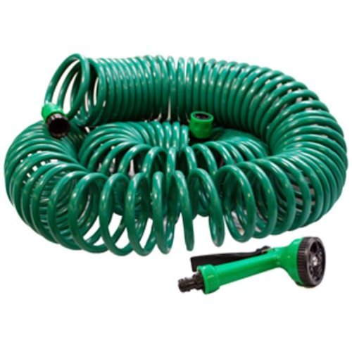 30m (100ft) Garden Coil Hose Pipe with Free Spray Gun