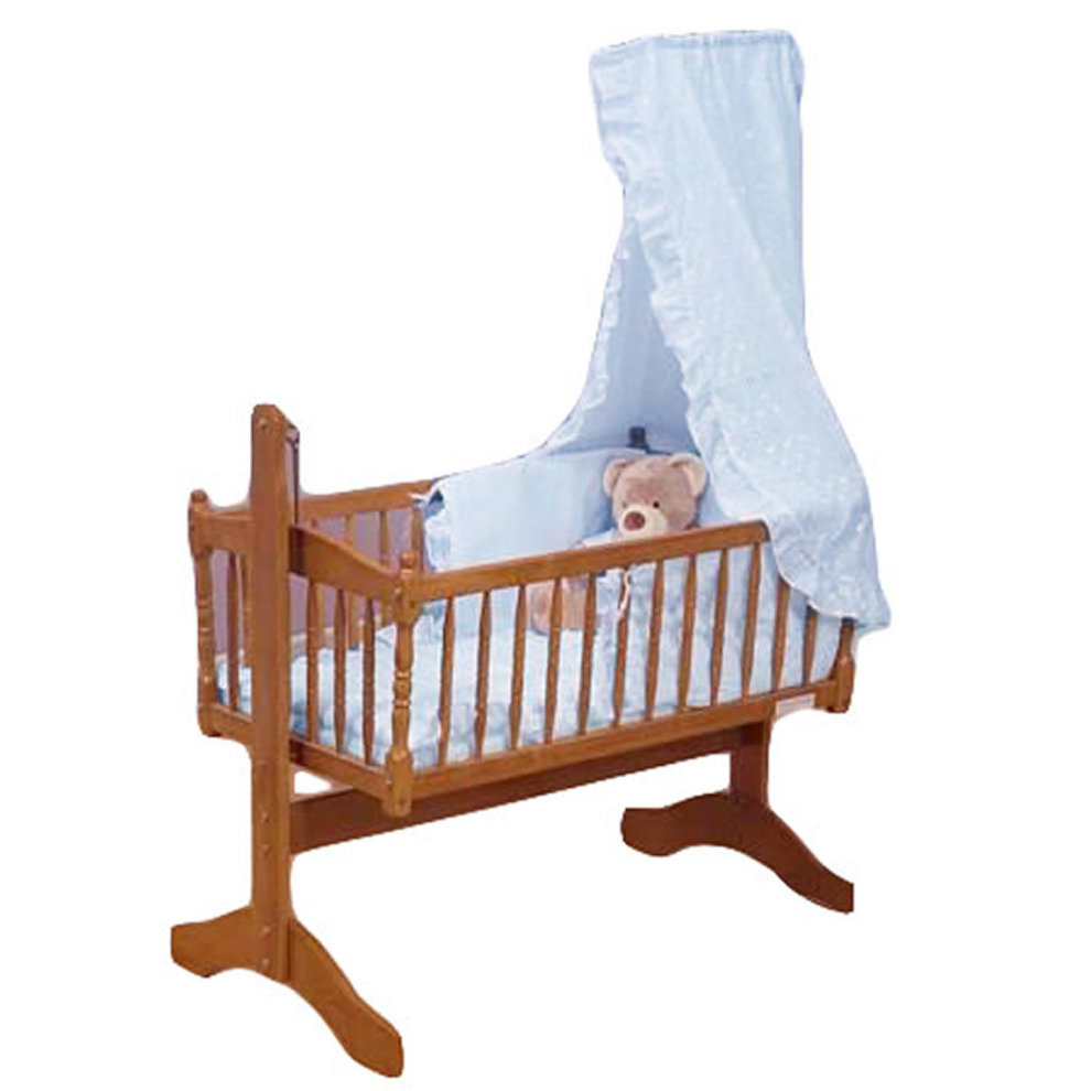 3 piece White swinging crib bedding set