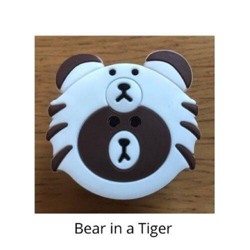 (Bear in a tiger) mobile phone holder Socket Finger grip Stand UK