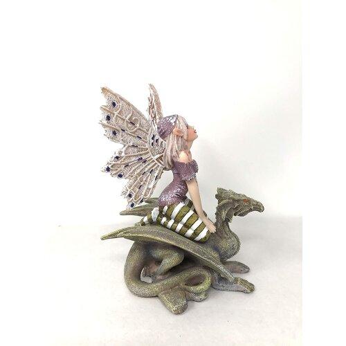 Flower Fairy Resting on Dragon Statuette Figurine Resin Ornament Sculpture Fairies Collection Figure