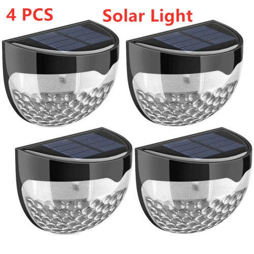 4 Pcs 6 LED Outdoor Waterproof Solar Wireless Garden Wall Fence Lights