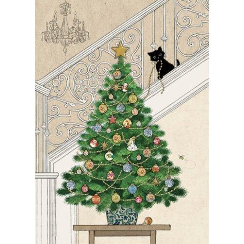 Bug Art Blank Christmas Greetings Card - Tree Kitten