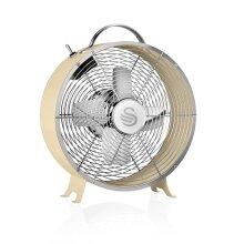Swan Cream Retro 8 Inch 20W Clock Desk Fan Low Noise