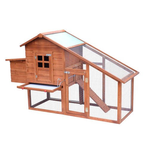 PawHut Chicken Coop w/ Outdoor Run Nesting Box Removable Tray Waterproof Roof