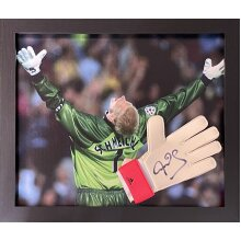 Framed Peter Schmeichel signed Adidas keepers glove with COA & proof