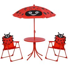 Outsunny Kids Folding Picnic Table Chair Set Ladybug Pattern Outdoor w/ Parasol
