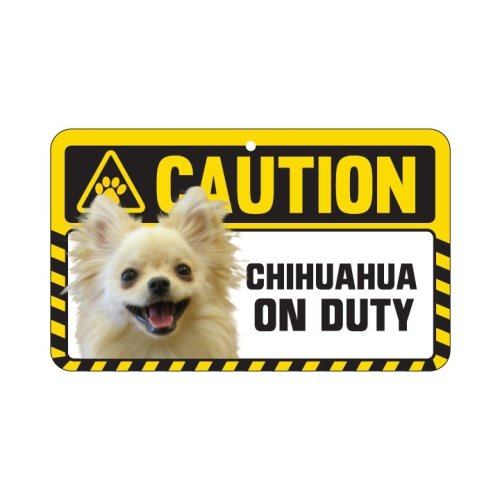 Chihuahua Long Harired Caution Sign