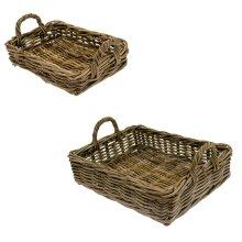 Kubu Rattan Strong Vegetable Fruit Shopping Garden Storage Basket Tray