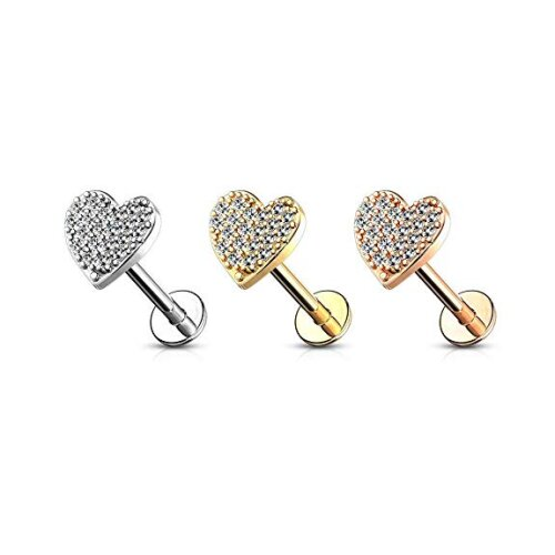 """Clear, 16GA (1.2mm), 1/4"""" (6mm), Multi Crystal Paved Curved Heart Top  Internally Threaded Surgical Steel Flat Back Labret Tragus Cartilage Universal"""