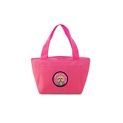 15 x 7 in. Yorkie Zippered Insulated School Washable and Stylish Lunch Bag Cooler&, Pink