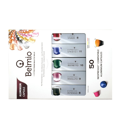 Belmio Intense Collection Gift Set 50 ®Nespresso Aluminium Compatible Coffee Capsules Pods Variety Pack