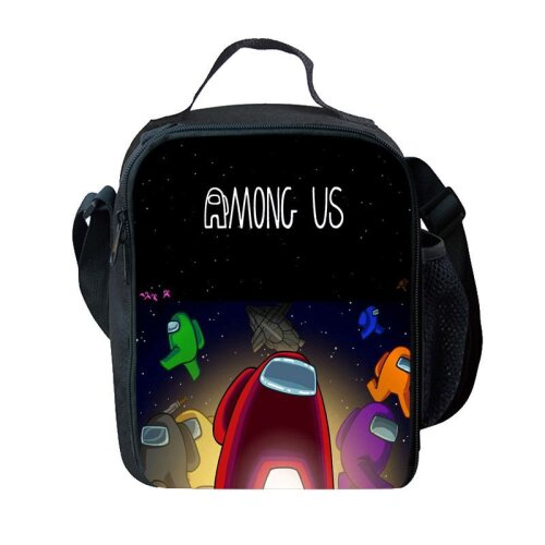 (Red) Among Us Insulated Lunch Bag School Outdoor Lunchbox