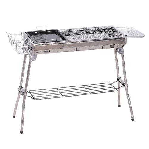 Outsunny Stainless Steel Foldable Charcoal BBQ Barbecue Grill Camp Party Picnic Cooker Portable