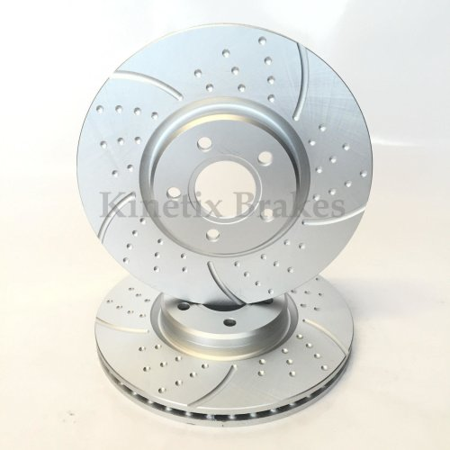 For Ford Focus Mk2 2.5 ST 225 Front Dimpled Grooved Brake Discs Kinetix Pair X2
