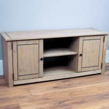 Panama 2 Door 1 Shelf TV Unit Cabinet Stand Cupboard Solid Pine Oak