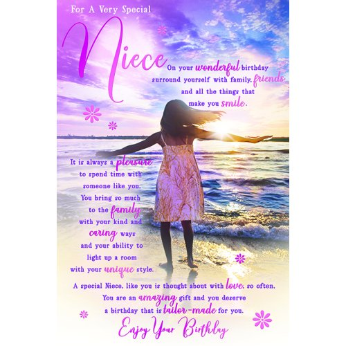 For A Very Special Niece Beach Sentiments Happy Birthday Card Lovely Verse