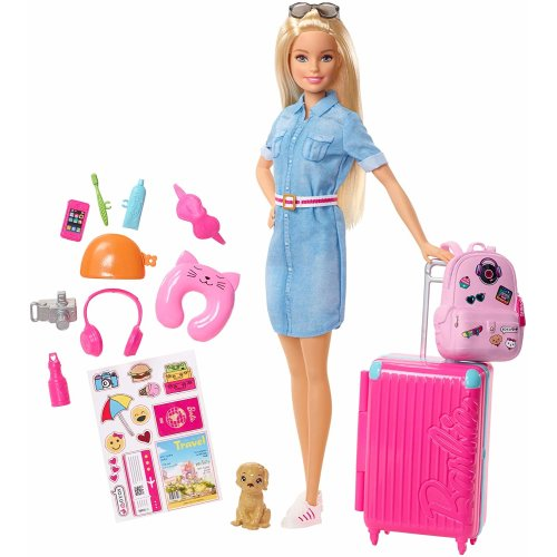 Barbie FWV25 Doll and Travel Set with Puppy