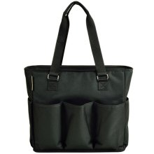 Picnic at Ascot 541 BLK Large Insulated Multi Pocketed Travel Bag With 6 Exterior Pockets Black