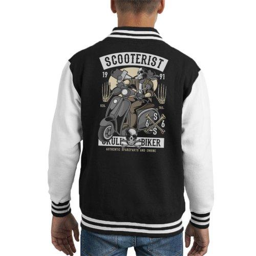 Scooterist Skull Biker Kid's Varsity Jacket