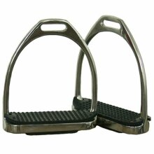 """STIRRUP IRONS FOR HORSE RIDING WITH BLACK TREADS- 4.5"""""""